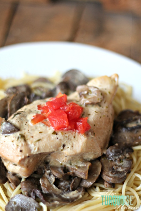 LOVE this yummy 5-minute angel & mushroom chicken crock pot recipe. It's one of my favorite crock pot recipes; it's yummy and takes little time to throw it together! | Recipe at TheTurquoiseHome.com
