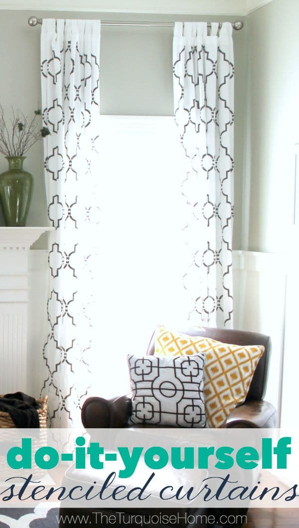 This is such a cheap way to make a huge impact. Similar curtains retail for $200 PER PANEL! But you can make them for less than $100 for two panels including the stencil! I made four panels, so my cost came out to less than $30 per panel. So worth it! And everyone always wants to know where they came from! | Details at TheTurquoiseHome.com