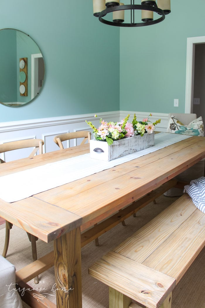 Having this DIY Farmhouse Table will make hosting events so easy. Just pull up a chair!!
