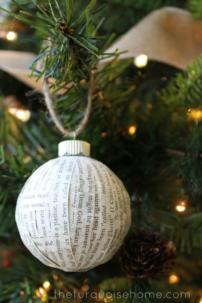 I set out to make my own easy budget friendly Christmas decorations this year with my DIY Paper Covered Ornament for my new Christmas tree. Finished product = simple and cheap Christmas ornaments. This DIY Ornament is easy and great!
