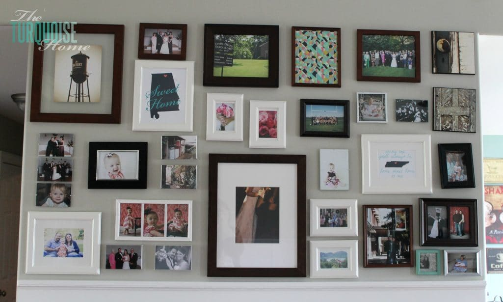 Living room makeover part 5 gallery wall the turquoise home for Wall picture frames for living room