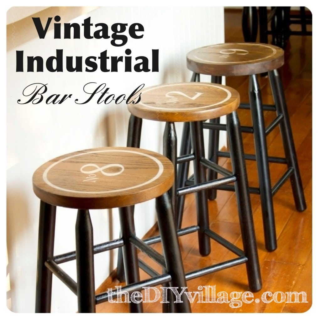 Vintage Industrial Barstools by DIY Village