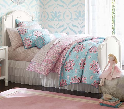 Pink and Turquoise big girl bedding
