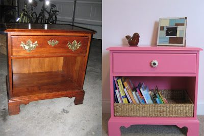A's Room: Hot Pink Night Stand Makeover!