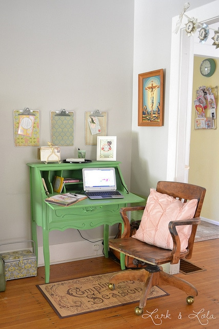 Lark and Lola green secretary desk