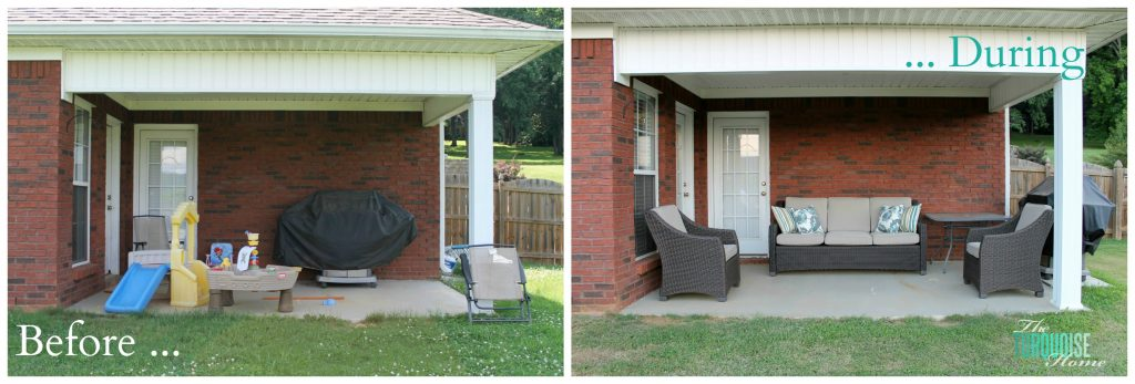 our patio progress collage