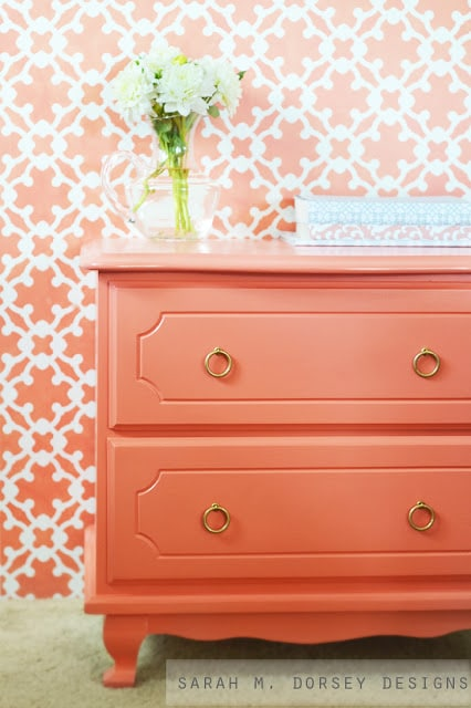 coral dresser with brass ring pulls 3