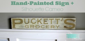 hand painted sign + silhouette cameo