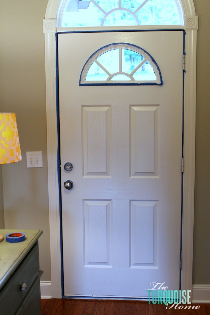 tape-off-painted-front-door & How to Paint an Interior Door: Hale Navy | The Turquoise Home