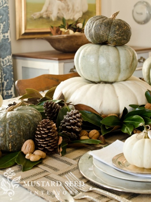 Add pumpkins and gourds to your fall home for an easy update! Click for more ideas to decorate your home for fall!