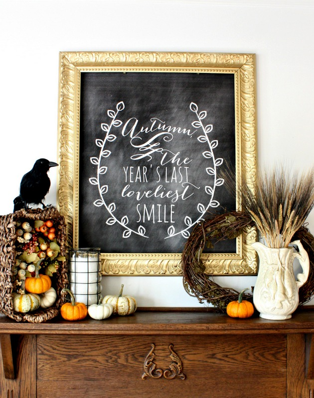 11 Ways to add Fall to your Home | Fall Harvest Chalkboard Mantel from Nest of Posies
