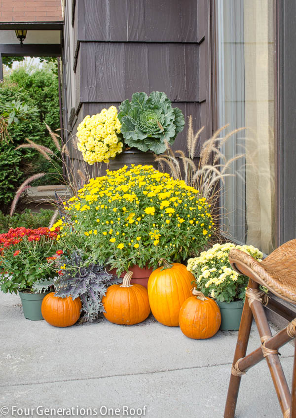 11 Ways to add Fall to your Home | Mums and Pumpkins from Four Generations One Roof