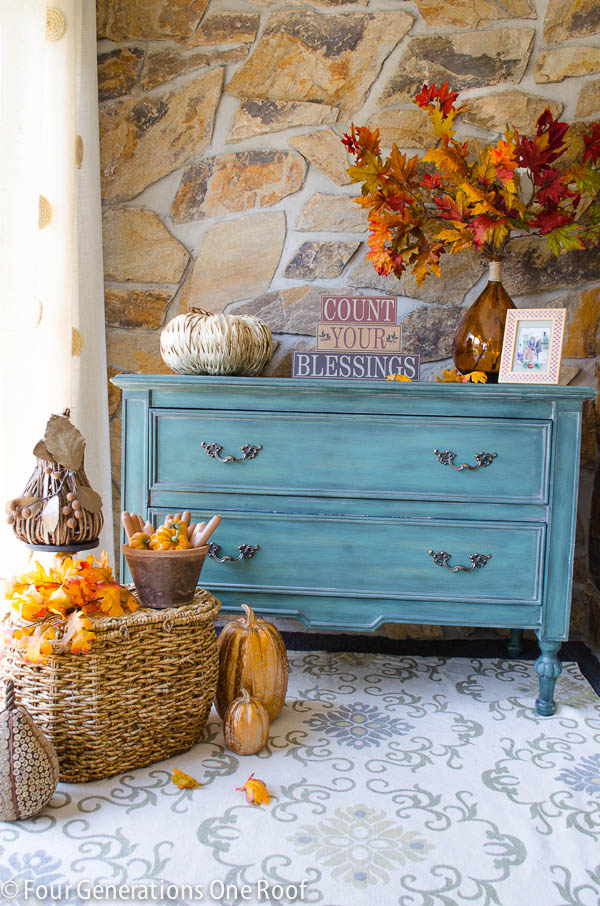 Gorgeous fall front porch with natural elements for fall! | 11 Ways to Add Fall to Your Home