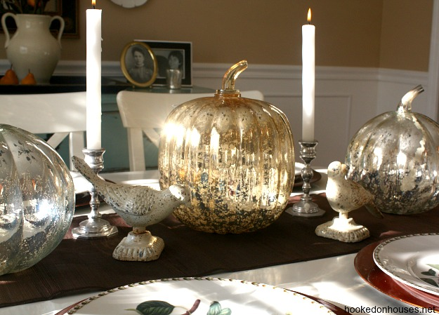 11 Ways to add Fall to your Home | Mercury Glass Pumpkins from Hooked on Houses