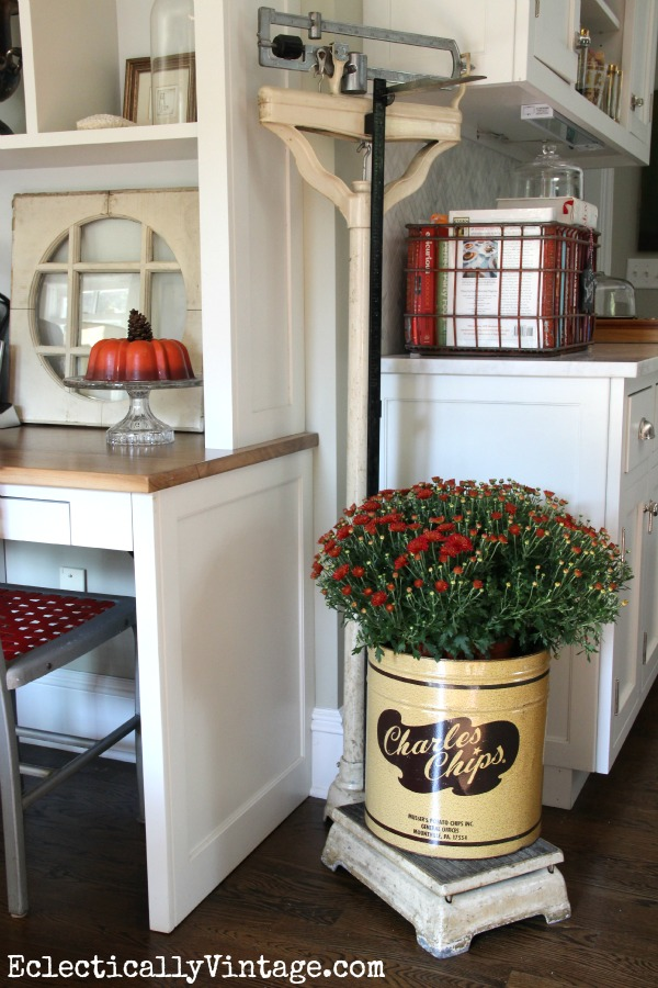Vintage scale mums for fall fun! | 11 Ways to Add Fall Into Your Home