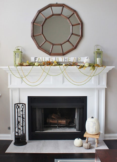 Fall Mantel with Twig Art