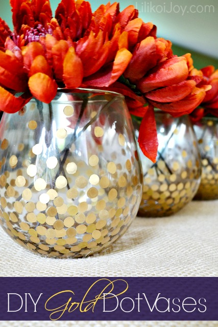 DIY Gold Dot Vases