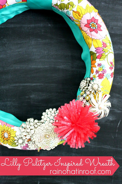Lilly Pulitzer Inspired Fabric Wreath