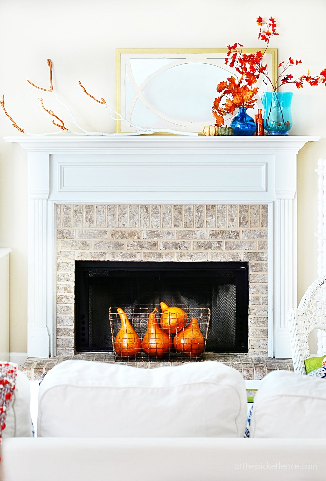 11 Ways to add Fall to your Home | Fall Mantel from At the Picket Fence