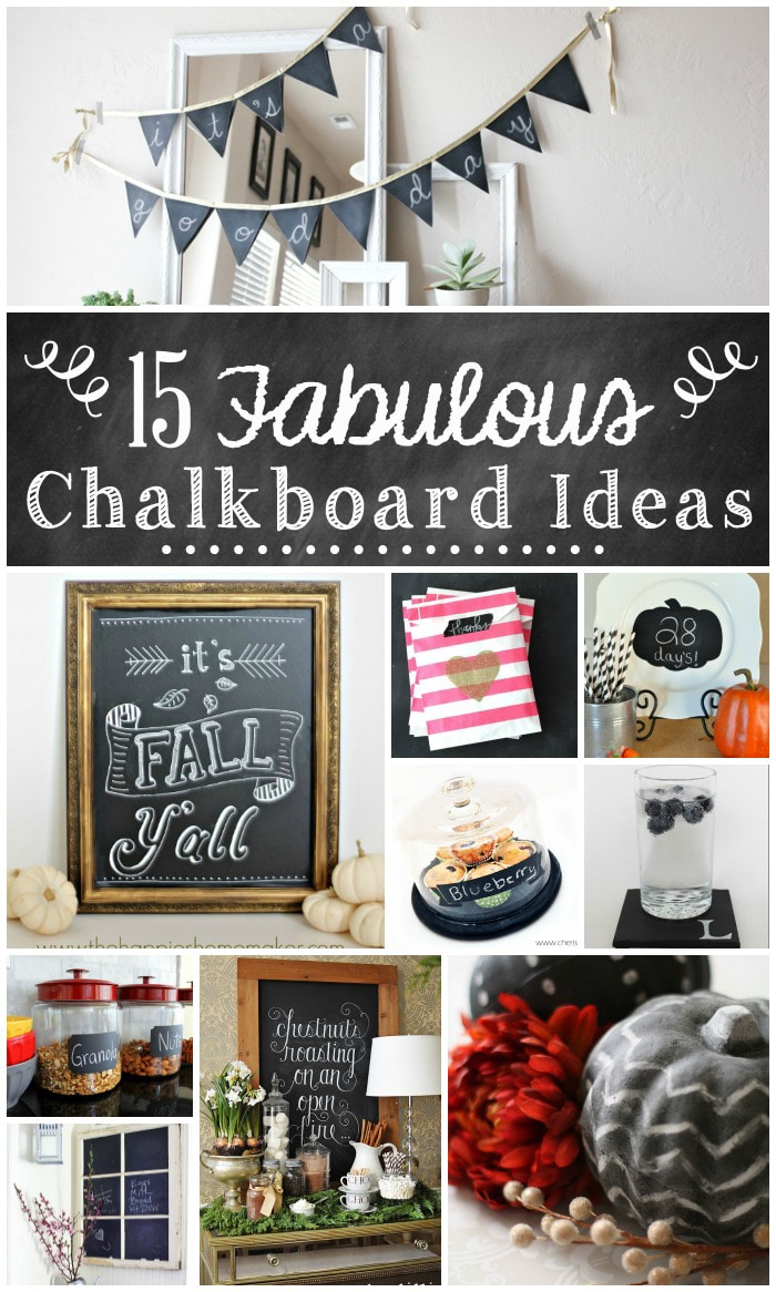 Chalkboard anything is so cute and versatile. And I especially love it for Fall. Can't wait to try some of these!! | 15 Fabulous Chalkboard Ideas at TheTurquoiseHome.com