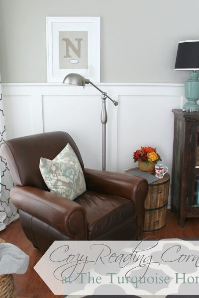 Cozy Reading Corner with new lamp and table from @HomeGoods | TheTurquoiseHome.com