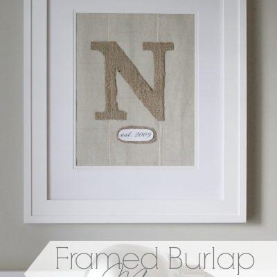 Framed Burlap Monogram
