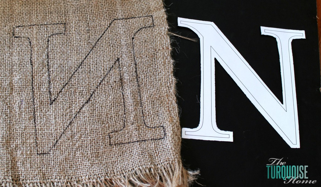 Burlap Monogram Cut Out