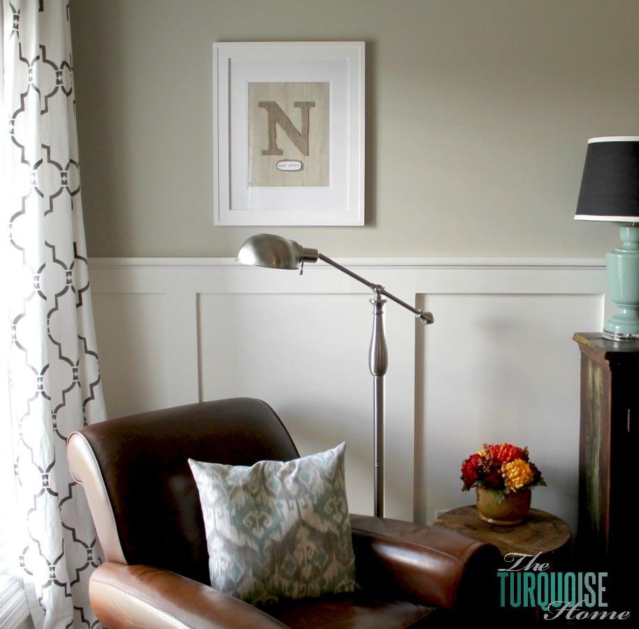 DIY Framed Burlap Monogram and Reading Corner | TheTurquoiseHome.com #DIY