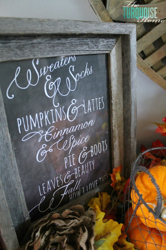 Fall Vignette with Chalkboard Art