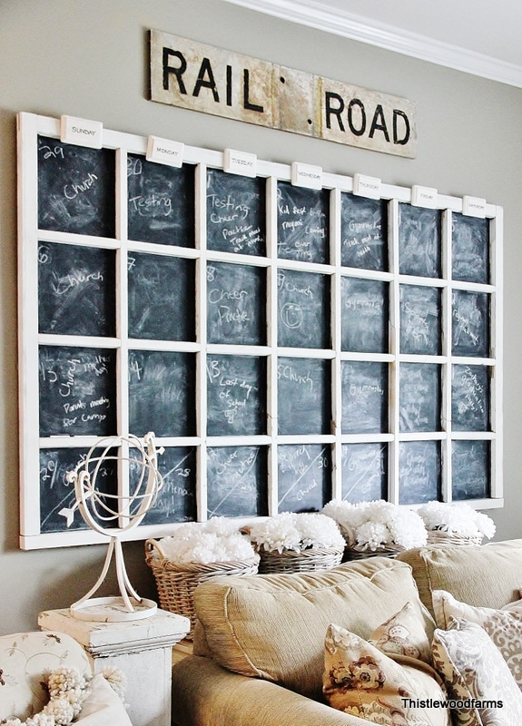 Old Window Chalkboard Calendar
