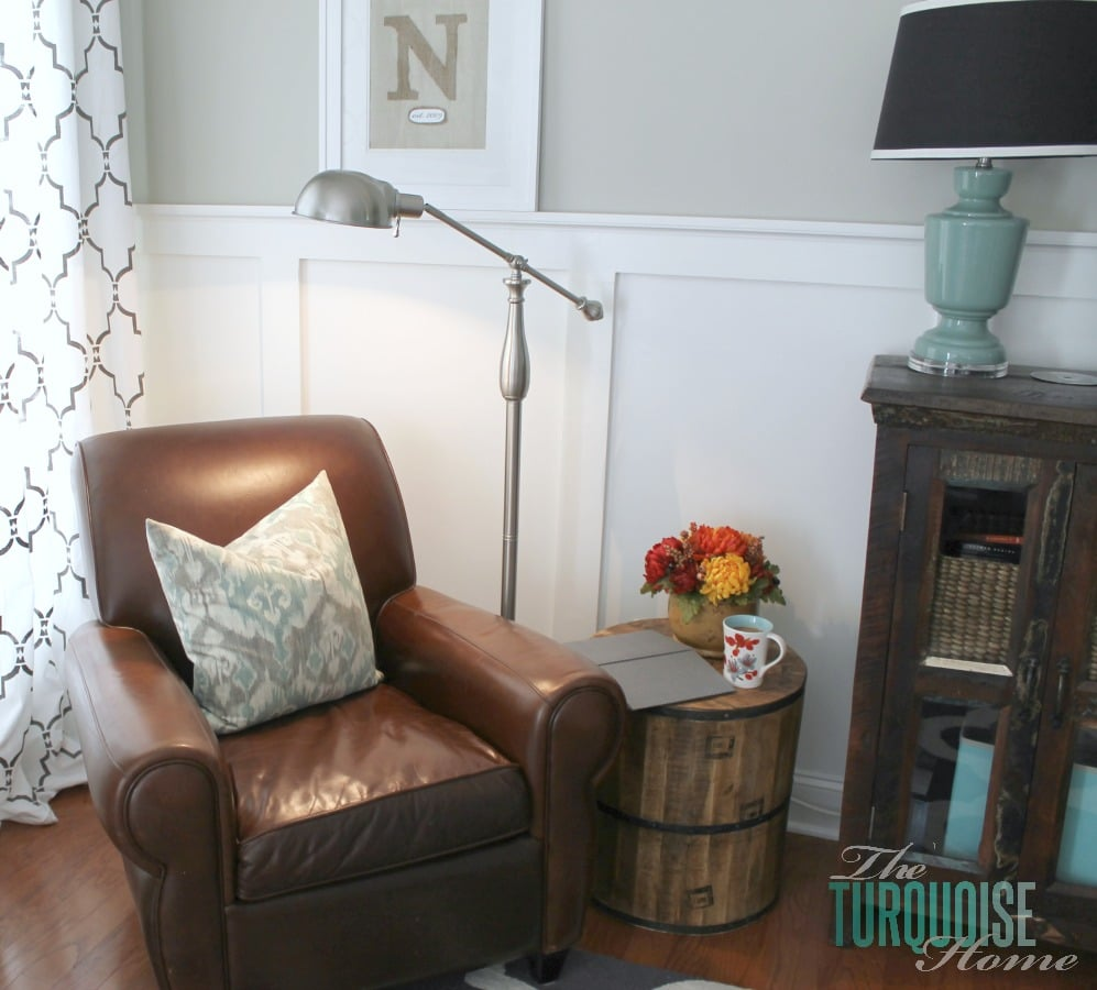 Reading Corner with new lamp and table from @HomeGoods | TheTurquoiseHome.com