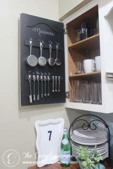 Chalkboard Cabinet Measuring Cup Storage