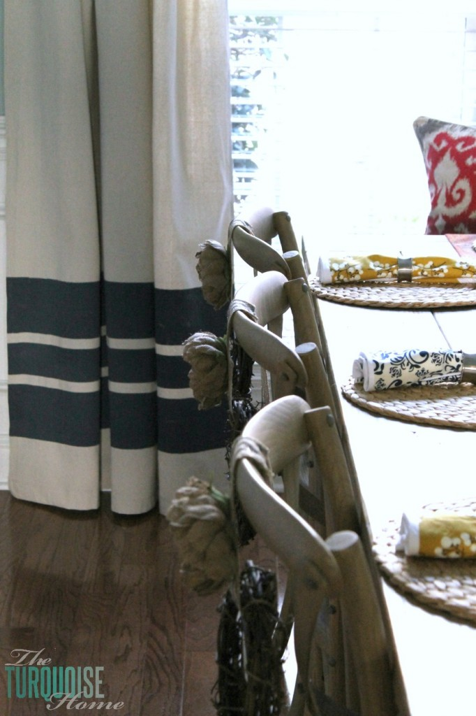DIY Painted Drop Cloth Curtains | TheTurquoiseHome.com