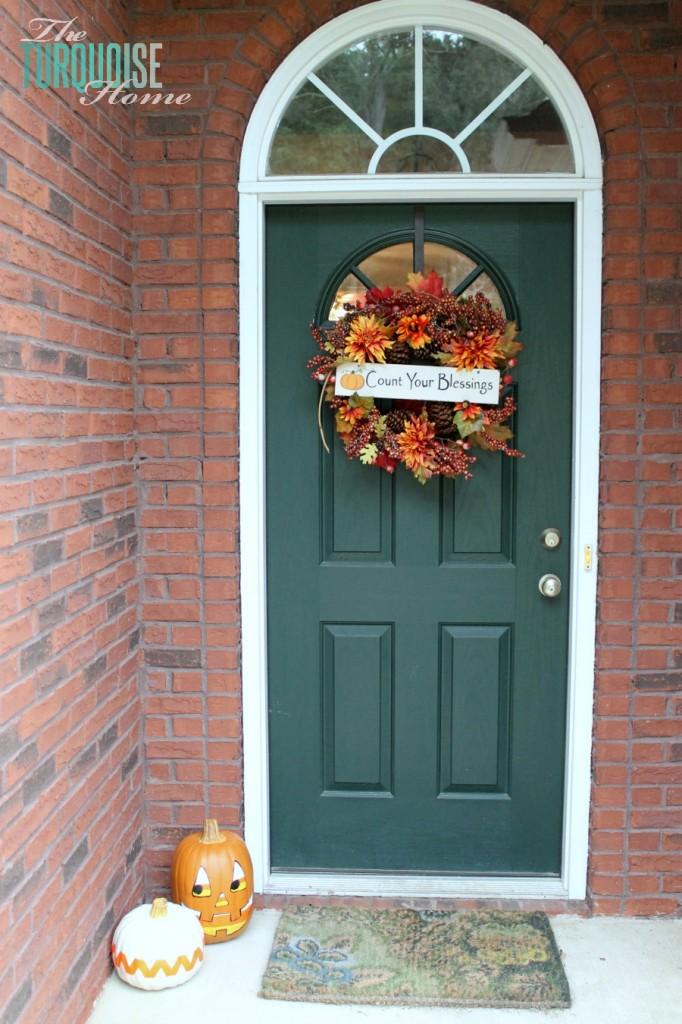 Pumpkin Decor and Front Door