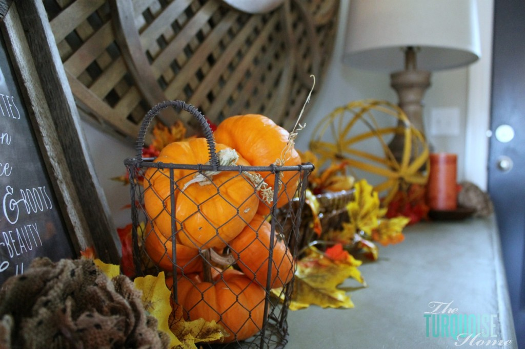 Fall Vignette with mini pumpkins
