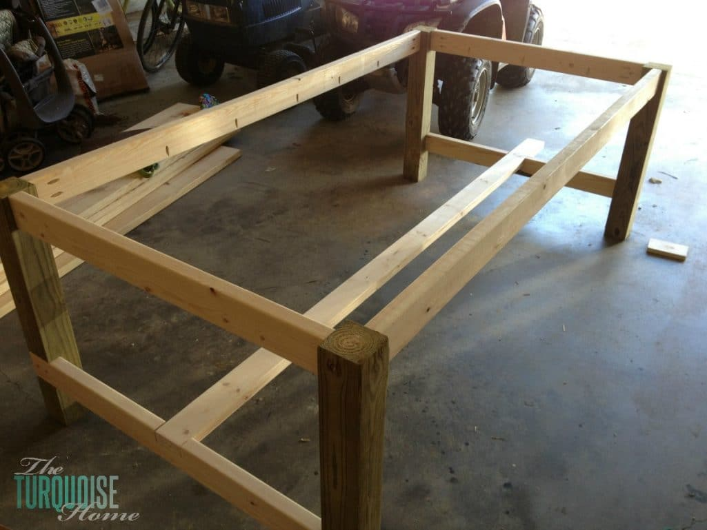 Easy diy farmhouse table tutorial for less than 100 for Homemade dining room table ideas