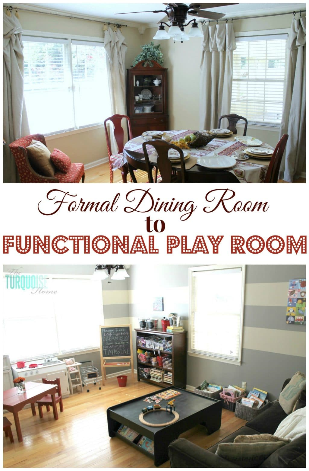 formal dining room to functional play room | the turquoise home