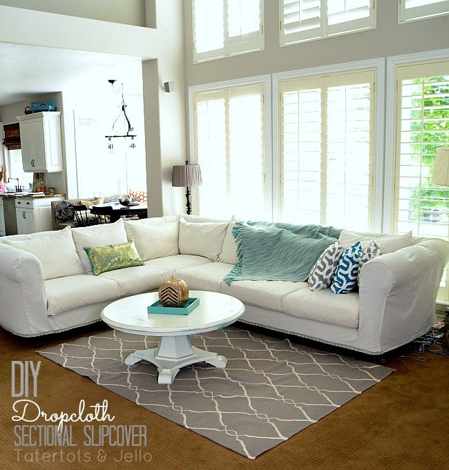 DIY Drop Cloth Sectional Slipcover