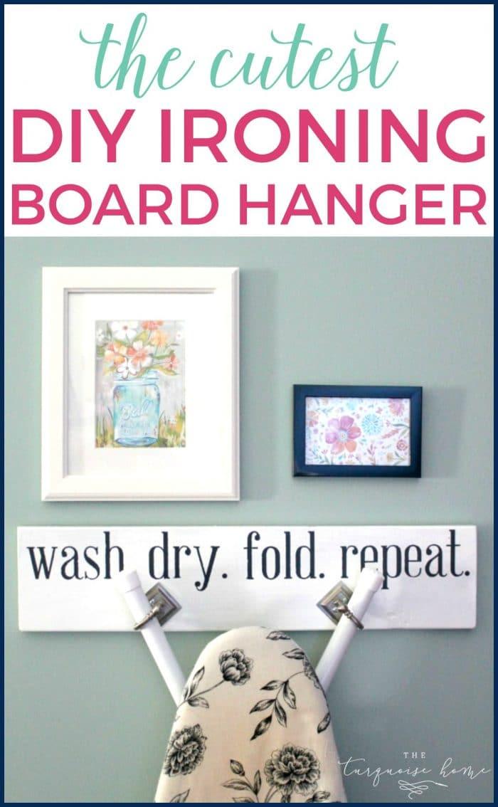 The cutest DIY ironing board hanger!!