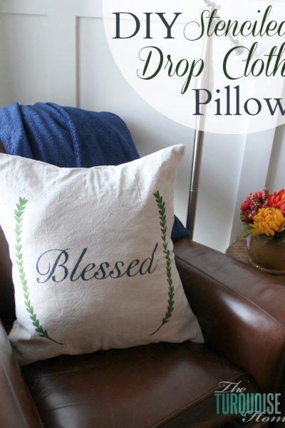 DIY Stenciled Drop Cloth Pillow #diy #dropcloth #silhouette