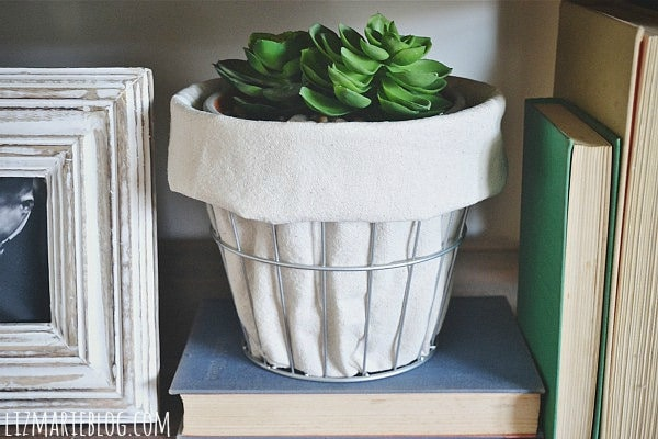 DIY Wire and Drop Cloth Planter