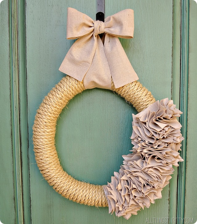 Ruffle Wreath with a Rope and a Drop Cloth
