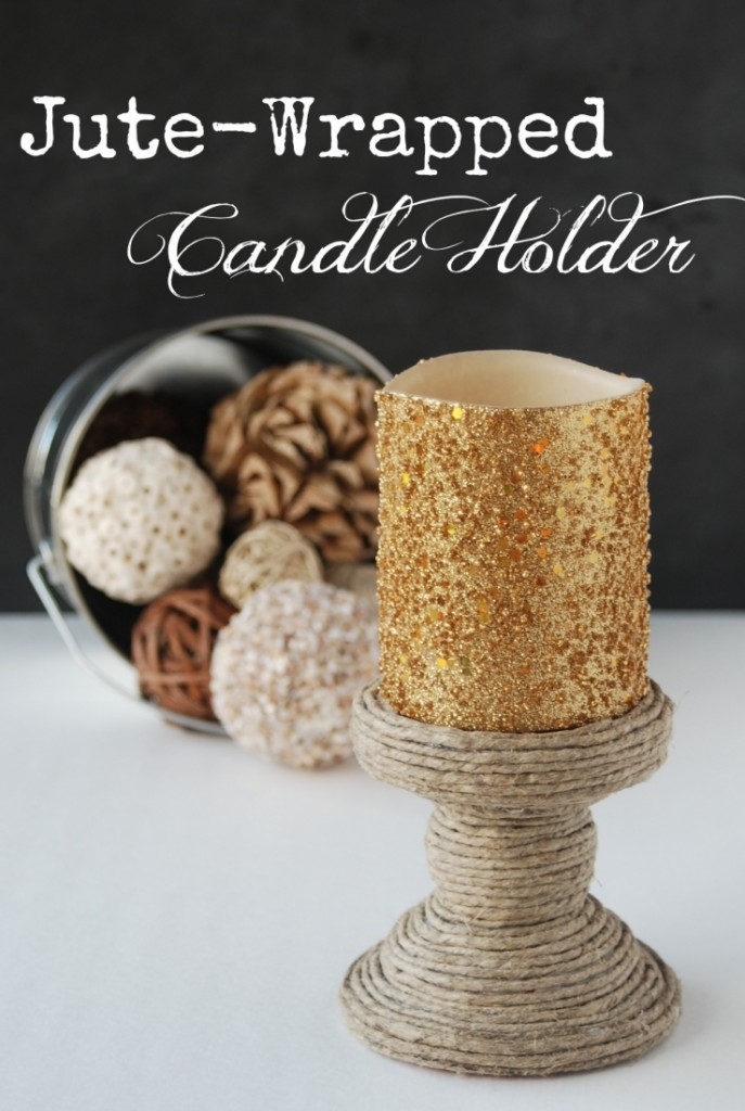 Jute Wrapped Candle Holder