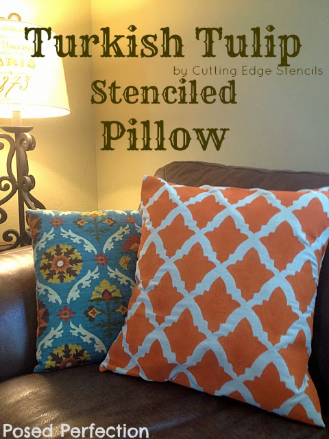 Stenciled Drop Cloth Pillow