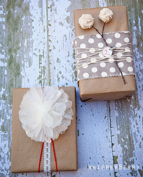 Wax Paper Bow and Pom Flower gift-wrapping from Whipperberry