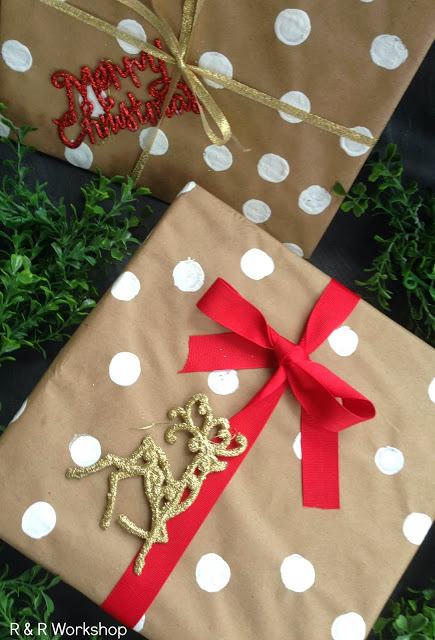 DIY Polka Dot Gift Wrap from R & R Workshop