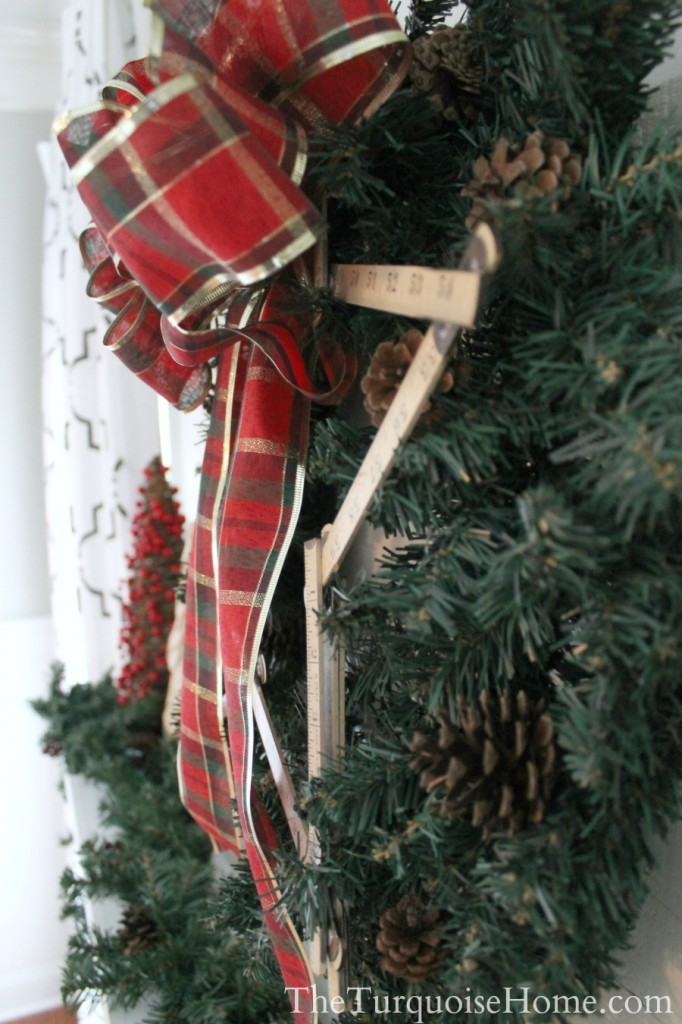 Traditional Red and Green Christmas Mantel. Find out all the details at TheTurquoiseHome.com