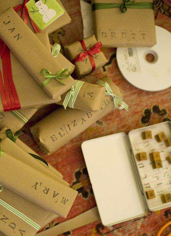 Simple Gift Wrap with Rubber Stamps from The Haystack Needle