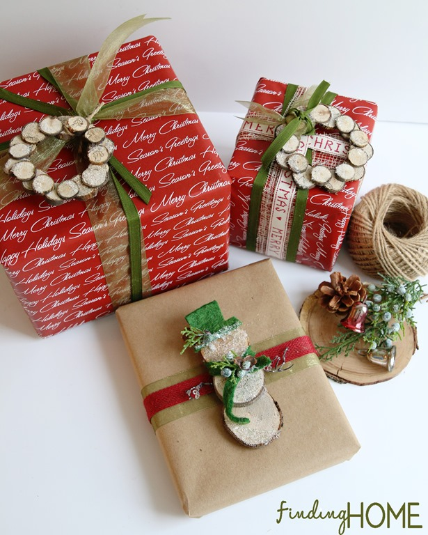 Wood Slice Wreath and Snowman gift-wrapping from Finding Home