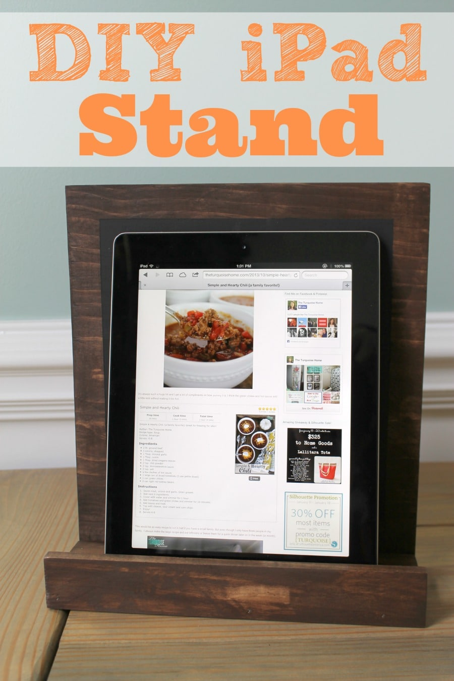 DIY Chalkboard and iPad Stand